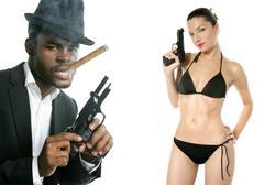 African american mafia man smoking cigar - stock photo