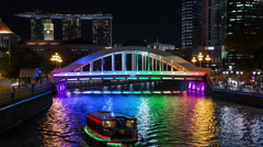 Time Lapse of Marina Bay Sands and Colorful Bridge at Night - Singapore Stock Footage