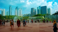 Famous Lake Symphony Fountains at KLCC Park in Downtown Kuala Lumpur Stock Footage