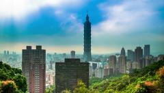 Stock Video Footage of Time Lapse - Dramatic Cloudscape of Taipei 101, Taiwan