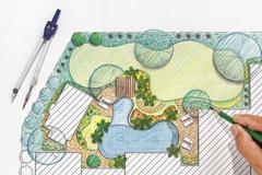 Landscape architect design backyard plan for villa Stock Photos