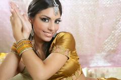Beautiful indian brunette woman portrait Stock Photos