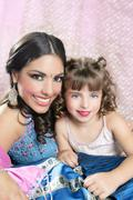Beautiful portrait of magic queen and princess - stock photo