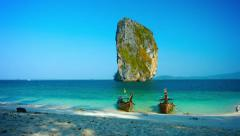RAILAY BEACH, THAILAND - CIRCA FEB 2015: Massive Limestone Formation Towers o Stock Footage