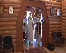 People Are Standing at The Church Hall at The Entrance and Waiting for Begining Stock Footage