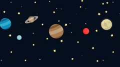 Animated Cartoon Planets in Space Stock Footage