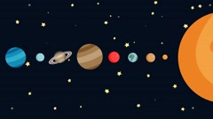 Animated Cartoon Solar System By Order Stock Footage