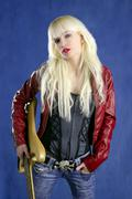 blond sexy fashion young girl electric guitar rock star - stock photo