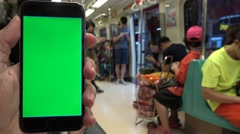 4K Hd Ultra, Close Up of Green Screen phone , Man Using Smartphone In Subway-Dan Stock Footage