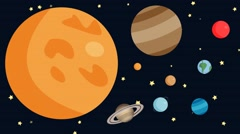 Animated Planets of the Solar System with shooting stars Stock Footage