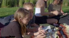 Teens study using technology Stock Footage