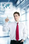 Stock Photo of businessman touch finger copy space pad