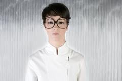 funny humor futuristic woman big glasses - stock photo