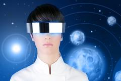 silver futuristic glasses woman space planets - stock photo