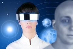 silver futuristic glasses woman space planets - stock photo