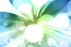 Circles blue green explosion background - stock illustration