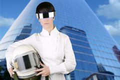 futuristic spaceship aircraft astronaut helmet woman - stock photo