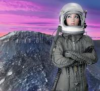 astronaut spaceship aircraft helmet fashion woman - stock photo