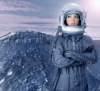 astronaut woman futuristic moon space planets - stock photo