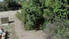 Flying droid crash tree quadcopter sideswipe smash accident impact wreck Stock Footage