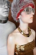 alien futuristic fashion couple portrait silver gold - stock photo
