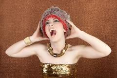 futuristic golden bronze woman crazy shout expression - stock photo