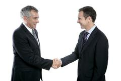 adult businessman handshake expertise portrait - stock photo