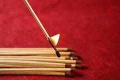 Light wooden matches arrangement Stock Photos