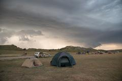 Thunderstorm and Tent Camping Stock Photos
