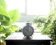Old alarm bell clock at the window backlit Kuvituskuvat