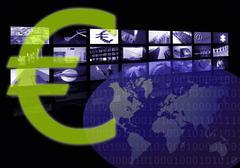 Euro Business corporate image, multiple screen - stock photo