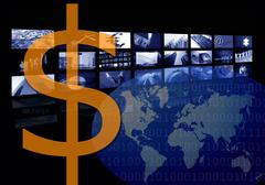 Dollar Business corporate image, multiple screen - stock photo