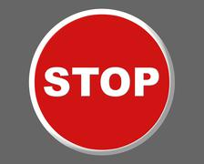 Stop traffic red round signal illustration - stock photo