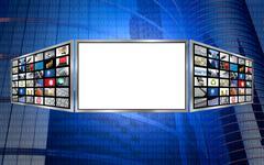 Global 3d screen copy space tech concept - stock photo