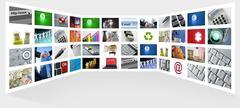 Big Panel of TV screen internet business - stock photo