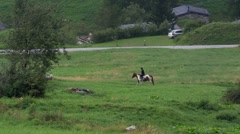 Horses and riders in alpine meadows - stock footage