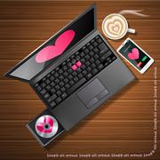 Heart shape on laptop screen and mobile phone with latte Stock Illustration