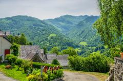 The French Pyrenean village of Aydius. Stock Photos