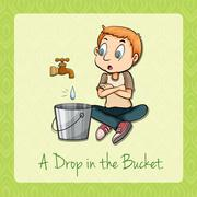 Man watching water dropping in bucket Stock Illustration