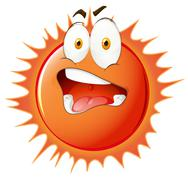 Sun with uncomfortable facial expression Stock Illustration