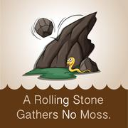 Stone rolling down mountain Stock Illustration
