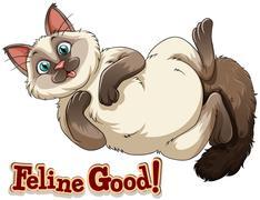 Black and white cat smiling Stock Illustration