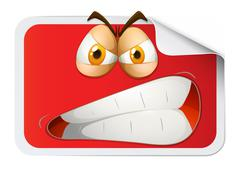 Red rectangular sticker with furious face - stock illustration
