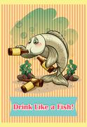 Fish drinking alcohol in the sea - stock illustration
