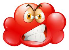 Red angry emotion cloud - stock illustration