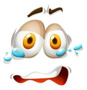 Teary eyes facial expression - stock illustration