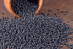 Black raw lentil in a bowl - stock photo