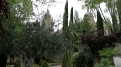 Cathedral From The Gardens Stock Footage