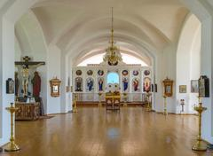 Stock Photo of Hall of worship with the iconostasis in the background in Russian church