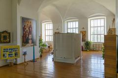 Large cylindrical container for holy water into the interior of Russian church - stock photo